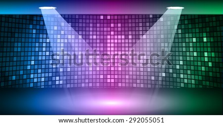 Stage Lighting blue purple green Background with Spot Light Effects, vector illustration. Abstract light lamps background for Technology computer graphic website internet business. screen,movie,cinema - stock vector