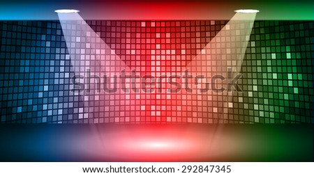 Stage Lighting blue red green Background with Spot Light Effects, vector illustration. Abstract light lamps background for Technology computer graphic website internet business. screen, movie,cinema - stock vector