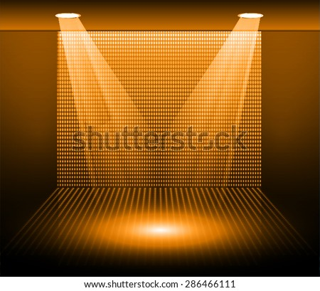 Stage Lighting orange Background with Spot Light Effects, vector illustration. Abstract light lamps background for Technology computer graphic website internet business. screen, movie, cinema, scene - stock vector
