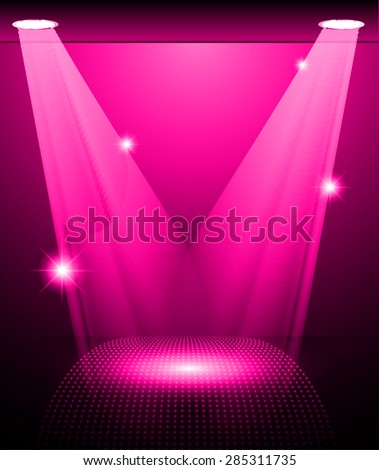 Stage Lighting pink Background with Spot Light Effects, vector illustration. Abstract light lamps background for Technology computer graphic website internet and business.  - stock vector