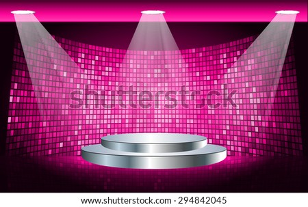 Stage Lighting pink Background with Spot Light Effects, vector illustration. Abstract light lamps background for Technology computer graphic website internet business. screen,movie,cinema - stock vector