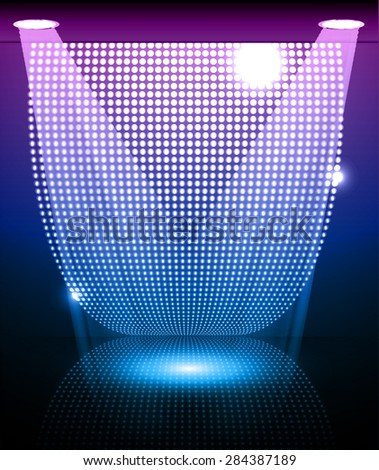Stage Lighting purple blue Background with Spot Light Effects, vector illustration. Abstract light lamps background for Technology computer graphic website internet and business. point, spot, dot - stock vector