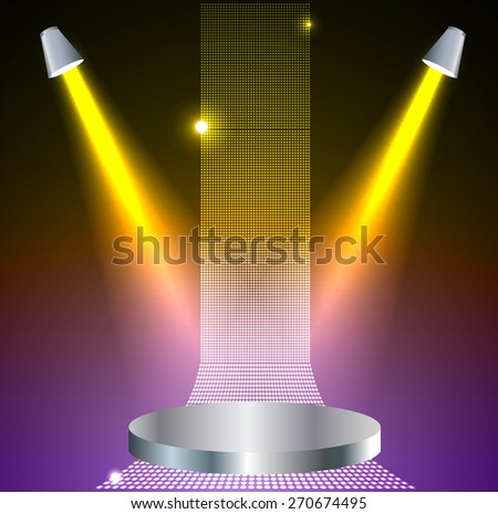 Stage Lighting purple yellow Background with Spot Light Effects - vector illustration. Abstract light lamps background for Technology computer graphic website internet and business - stock vector
