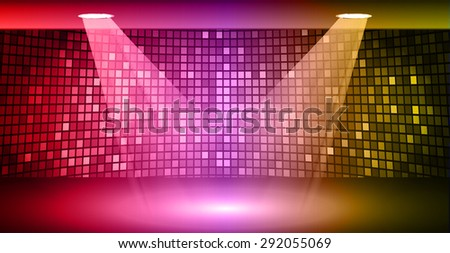 Stage Lighting red purple yellow Background with Spot Light Effects, vector illustration. Abstract light lamps background for Technology computer graphic website internet business. screen,movie,cinema - stock vector