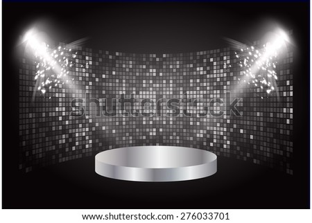 Stage lights. dark black background. Vector illustration. Light Abstract Technology background computer graphic website internet and business. - stock vector