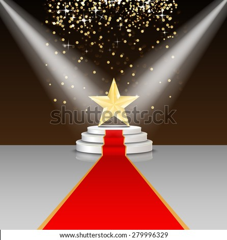 Stage podium with red carpet and star on brown background. Illustration vector - stock vector