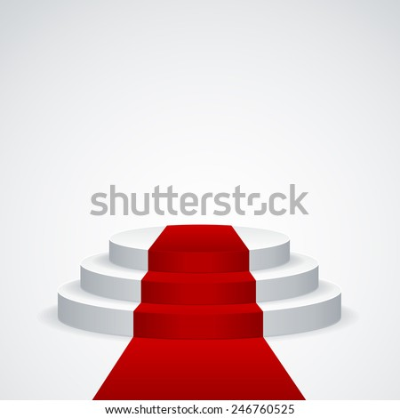 Stage podium with red carpet on white background - stock vector