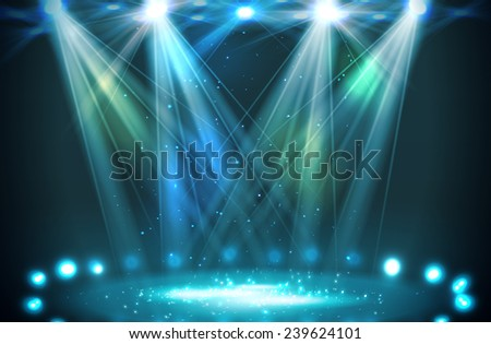 Stage spotlights blue . Vector illustration - stock vector