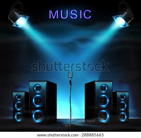 Stage with audio speakers, microphone, spotlight and sparkles. Music background. - stock vector