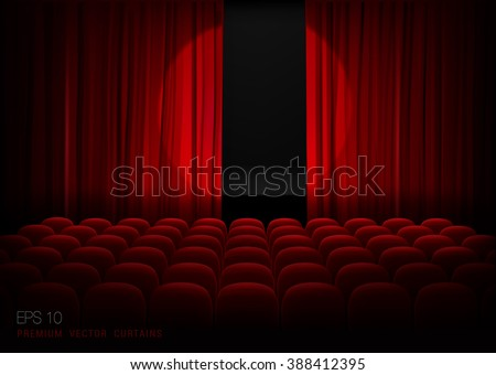 Stage with empty seats and red curtains with bright spotlight. Vector