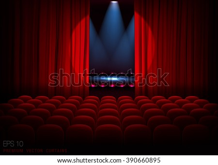 Stage with empty seats and red curtains with bright spotlight. Vector - stock vector