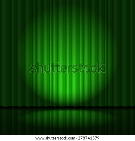 Stage with green curtain and spotlight great, heart-shaped - stock vector