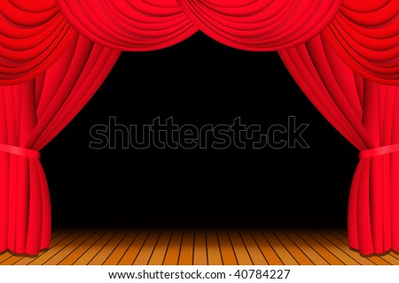 Stage with opened red theatre curtain