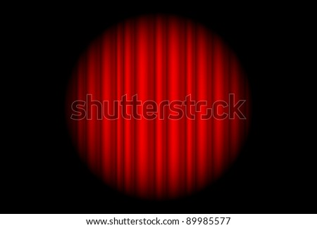 Stage with red curtain and big spot light.  Illustration of the designer - stock vector