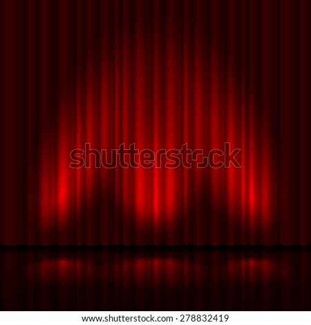 Stage with red curtain and three spot light.  Illustration of the designer - stock vector
