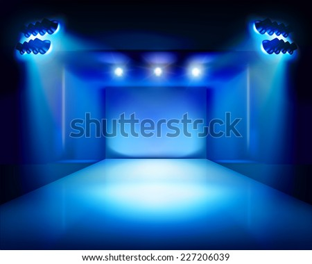 Stage with runway. Vector illustration. - stock vector