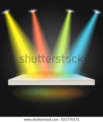 Stage with spot lights - stock vector