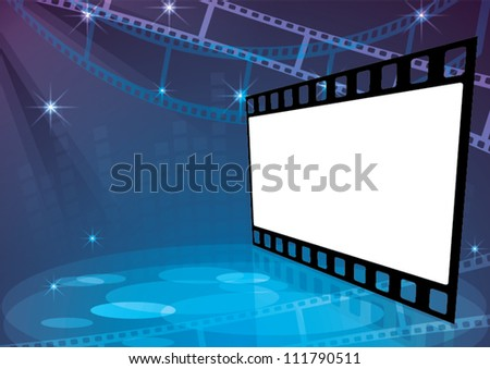 stage with spotlight on a blue background - stock vector