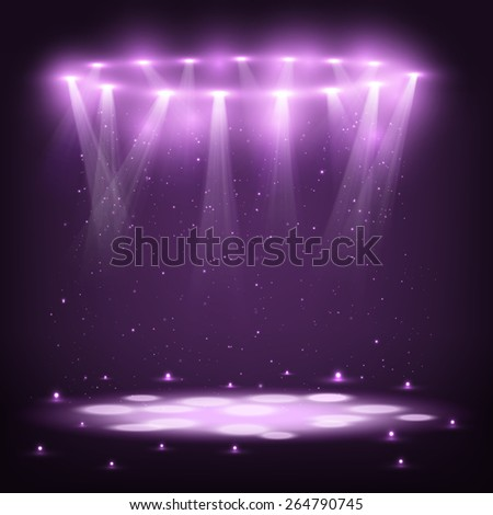 Stage with Spotlights and Spark Rain. Vector Illustration. - stock vector