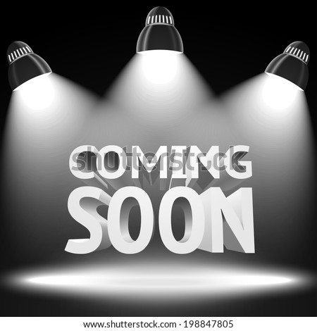 """Stage with the spot light projectors lightning the """"Coming Soon"""" message for your business, presentations, offers etc. Vector - stock vector"""