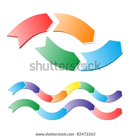 Stages of chart in arrows. Easily editable vector. - stock vector
