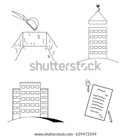 Foundation pit stock images royalty free images for Stages of home construction