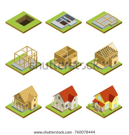 Stages countryside house construction isometric 3d stock for Stages in house construction