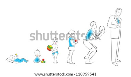 Stages of maturation man: from infancy to maturity. - stock vector