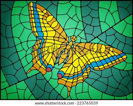 Stained glass butterfly abstract background in yellow and green tones - stock vector
