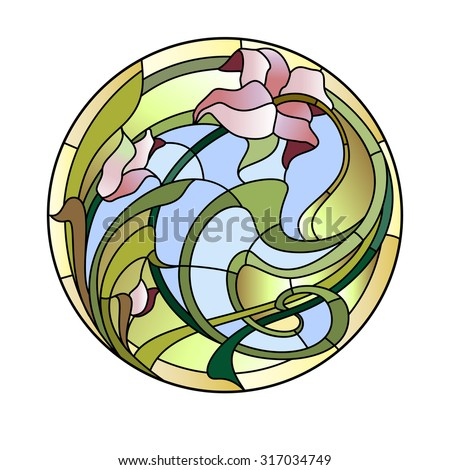 Stained-glass ceiling light - stock vector