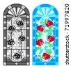 Stained glass floral windows in black-whites and colors - stock vector