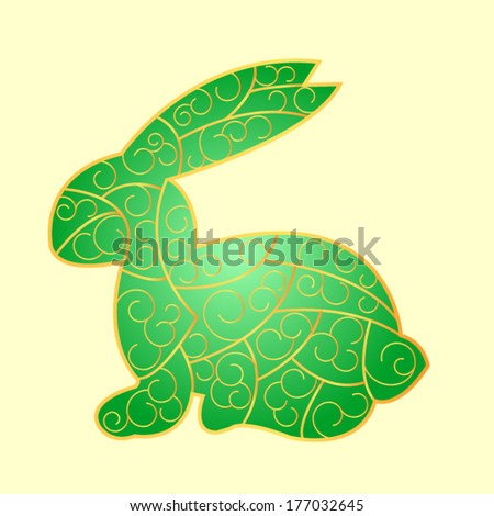 stained-glass green Easter Bunny - stock vector