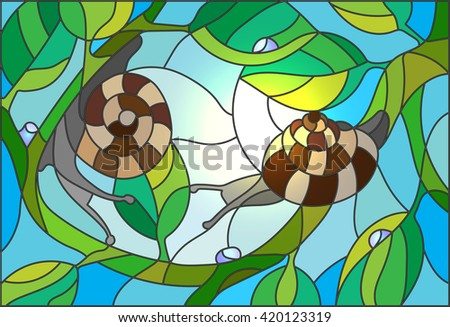 Stained glass illustration of a snail on a branch against the sky and the sun - stock vector