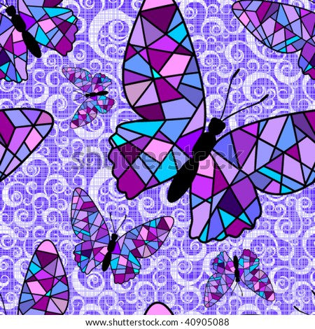 stained glass seamless pattern - stock vector