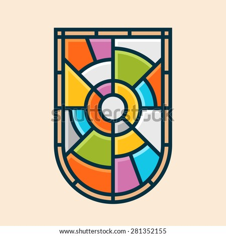 Stained glass shield emblem vector graphic symbol - stock vector