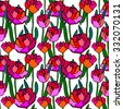 Stained glass style floral seamless pattern. Blooming peonies. Retro textile collection. Colorful on white. Backgrounds & textures shop. - stock vector