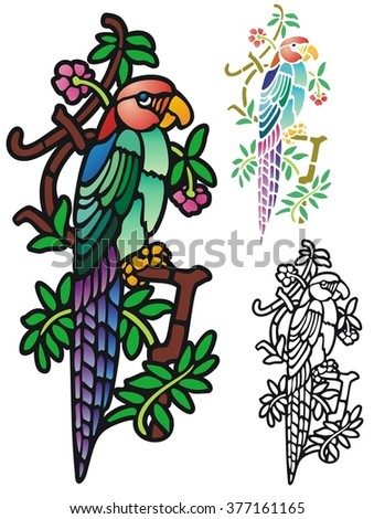 Stained glass style tropical bird - stock vector