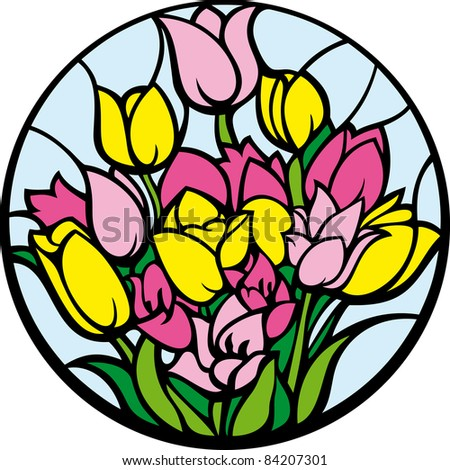 Stained-glass tulips. A bouquet of tulips looks like a stained-glass window. - stock vector