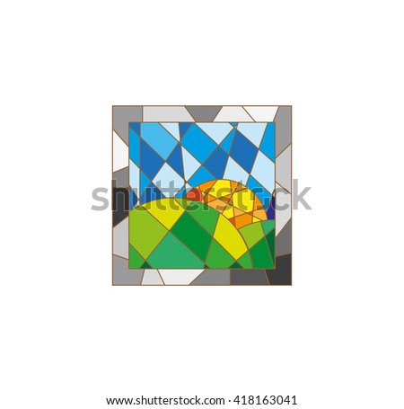 stained-glass window - stock vector