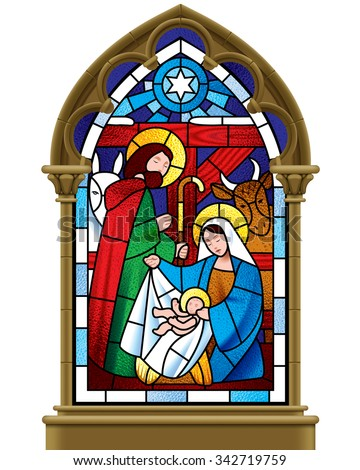 Stained glass window depicting Christmas scene in gothic frame isolated on white background. Vector illustration - stock vector