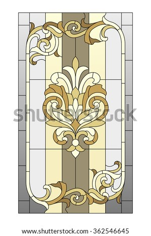 Stained glass window in the Baroque style - stock vector