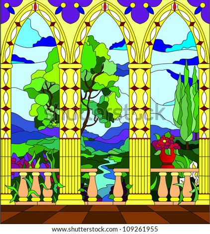 Stained glass window - the view from the balcony of the castle across the valley - stock vector