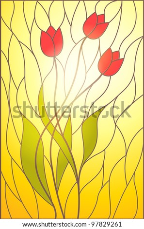 Stained glass with floral motif - stock vector