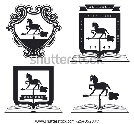 stained grunge emblem shield with beauty horse and stencil style with copy space - stock vector