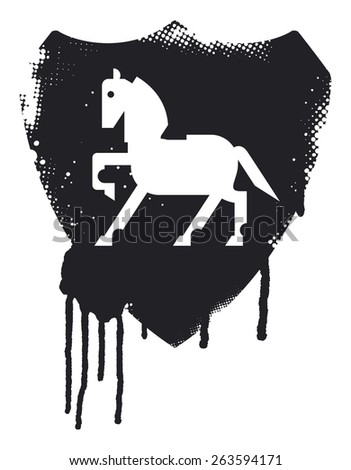 stained inky grunge splatter shield with beauty horse and stencil style - stock vector