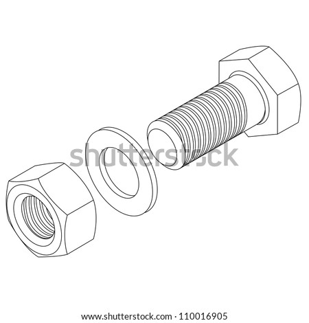 Stainless steel bolt and nut. Vector illustration. - stock vector