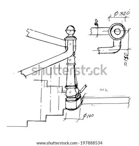 Perfect Stair Part Draft Sketch. Black Outline On White Background. Vector  Illustration.
