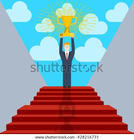 Stair step go to Trophy and success, achievement concept. Business concept, goal achievement, success, winning. Business man holding award cup. Flat style, vector illustration. - stock vector
