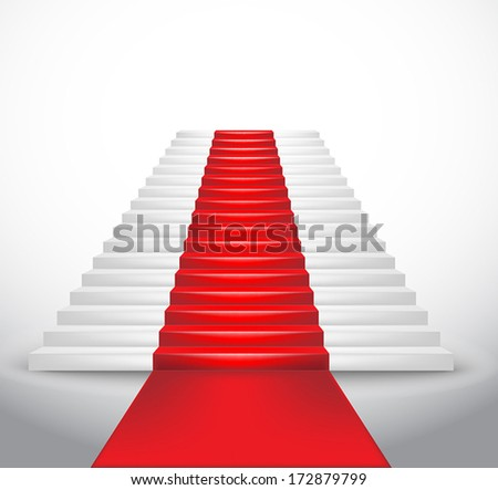 Staircase and red carpet. Vector Illustration  - stock vector