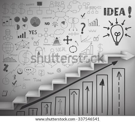 staircase as symbol of career rise. Vector Illustration - stock vector
